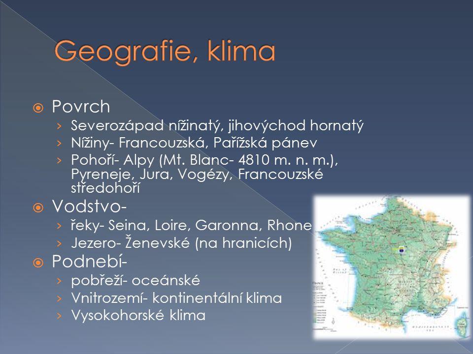 Geografie, klima Povrch Vodstvo- Podnebí-