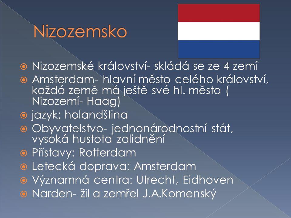 Nizozemsko Nizozemské království- skládá se ze 4 zemí