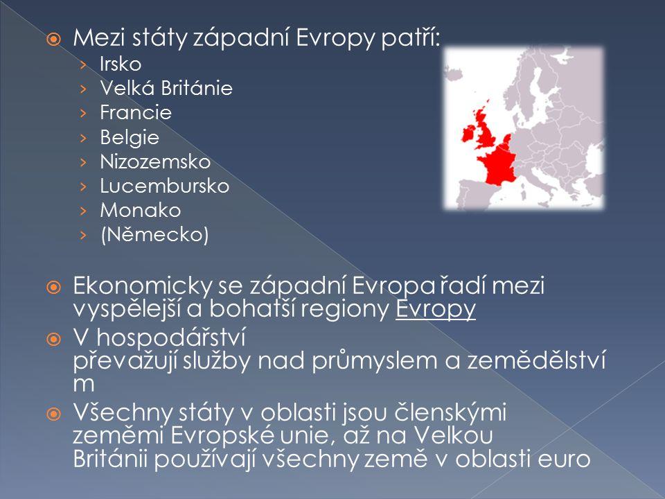 Mezi státy západní Evropy patří: