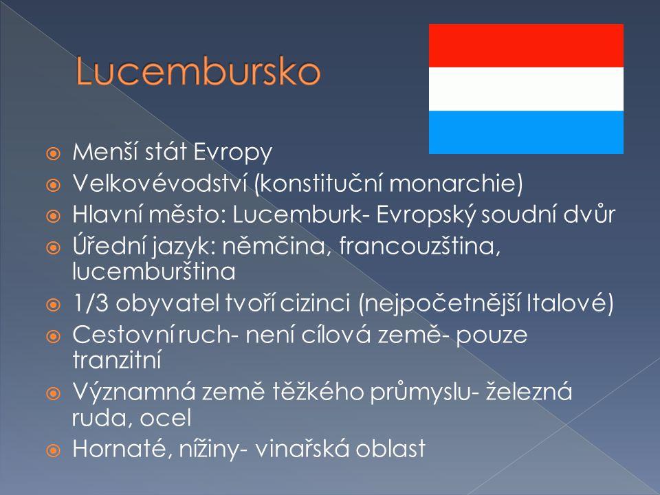 Lucembursko Menší stát Evropy Velkovévodství (konstituční monarchie)