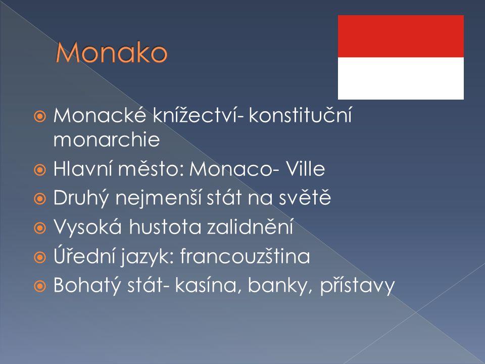Monako Monacké knížectví- konstituční monarchie