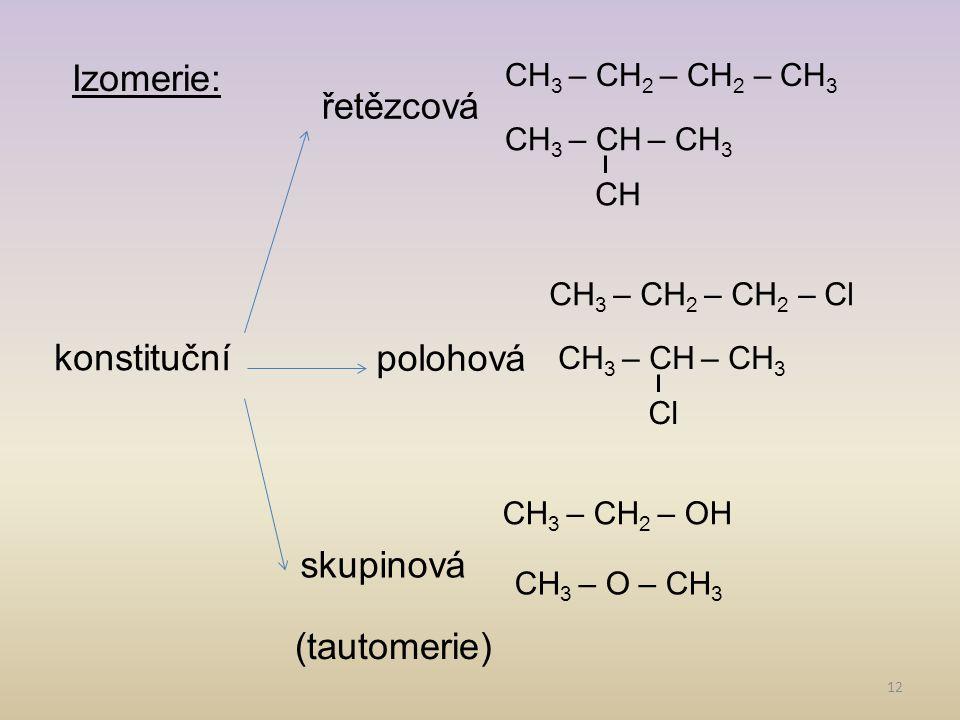 Izomerie: řetězcová polohová konstituční skupinová (tautomerie)