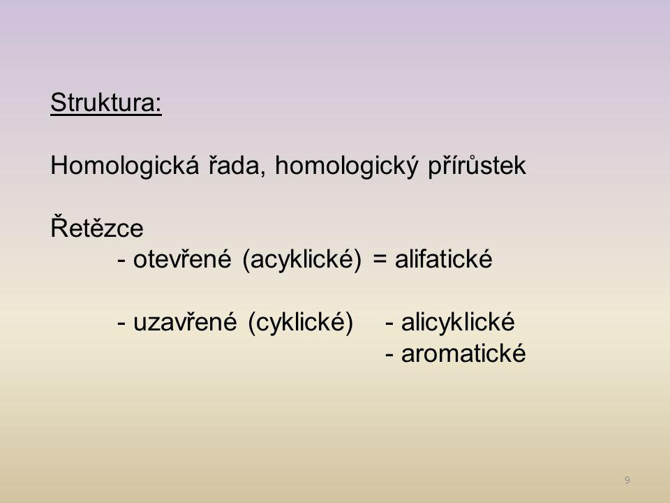 Struktura: Homologická řada, homologický přírůstek. Řetězce. - otevřené (acyklické) = alifatické.