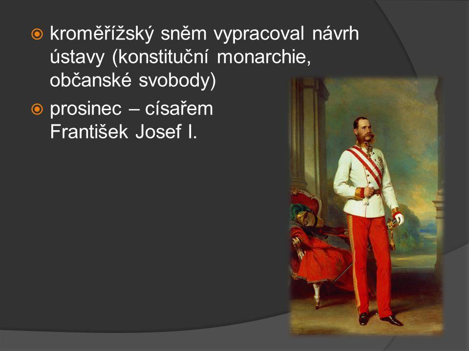 kroměřížský sněm vypracoval návrh ústavy (konstituční monarchie, občanské svobody)