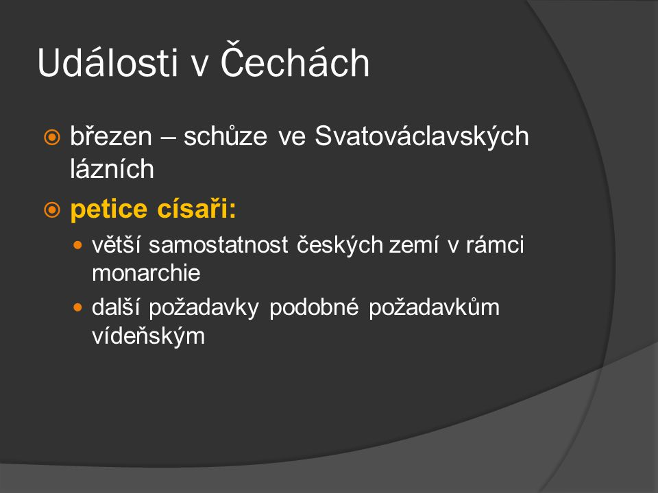Události v Čechách březen – schůze ve Svatováclavských lázních