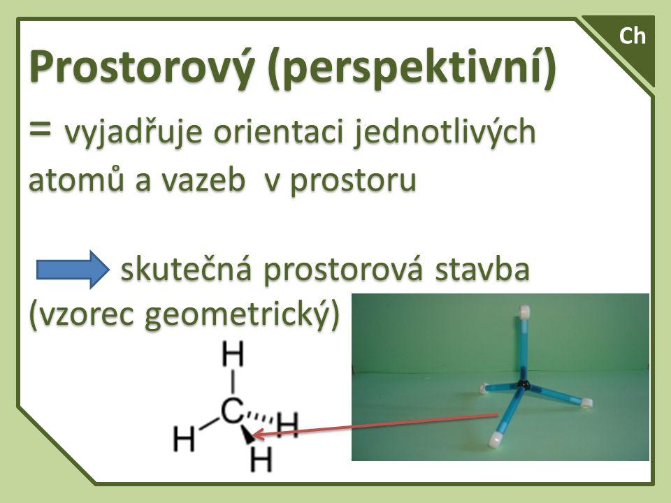 Ch Prostorový (perspektivní) = vyjadřuje orientaci jednotlivých atomů a vazeb v prostoru.
