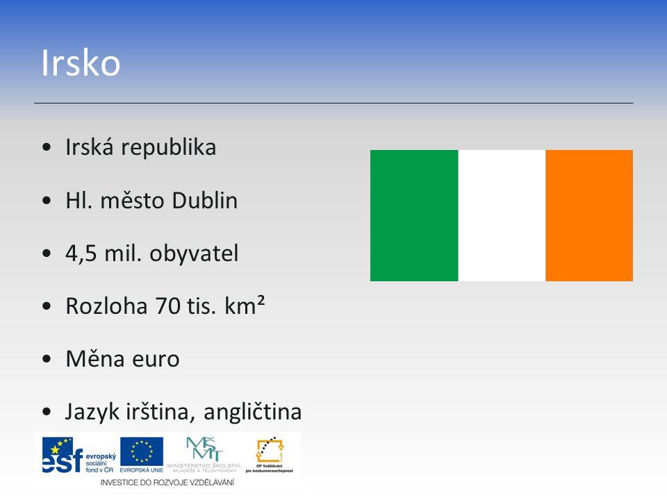 Irsko Irská republika Hl. město Dublin 4,5 mil. obyvatel