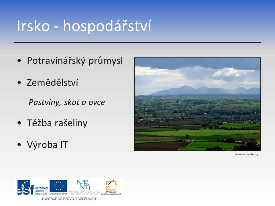 Irsko - hospodářství Potravinářský průmysl Zemědělství Těžba rašeliny