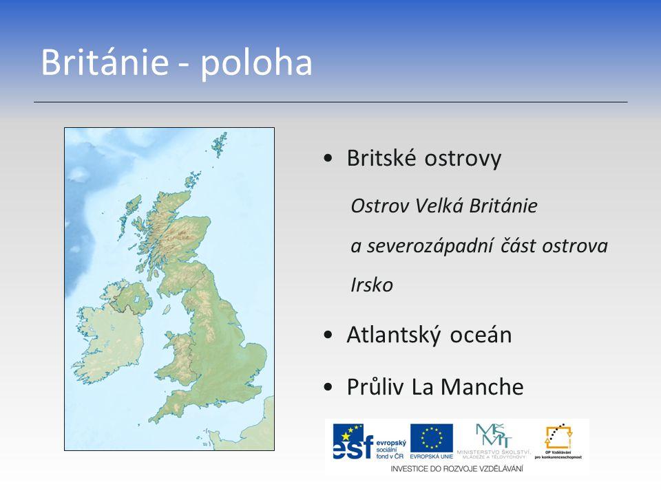 Británie - poloha Britské ostrovy Atlantský oceán Průliv La Manche