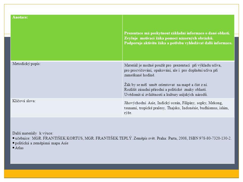 Anotace: Prezentace má poskytnout základní informace o dané oblasti. Zvyšuje motivaci žáka pomocí názorných obrázků.