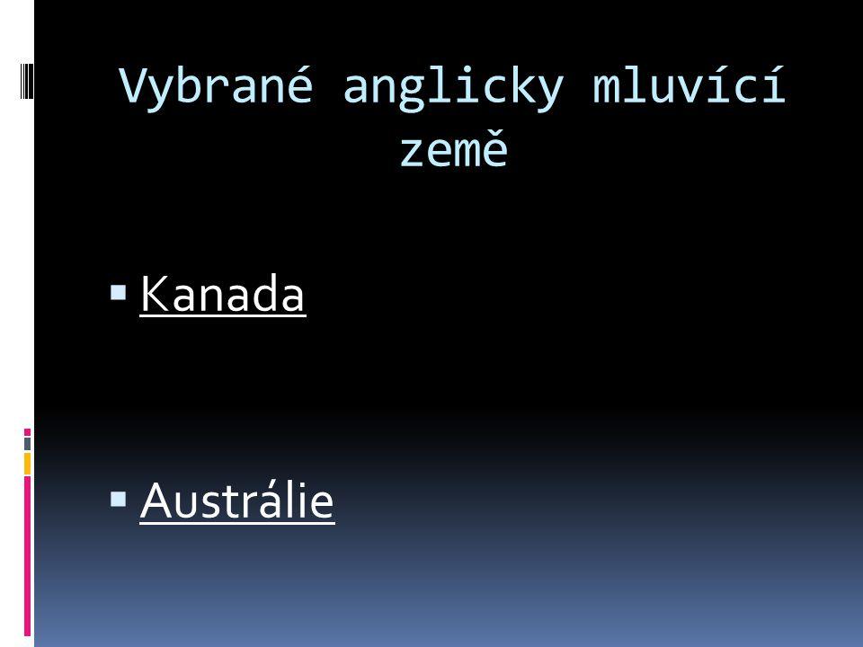 Vybrané anglicky mluvící země