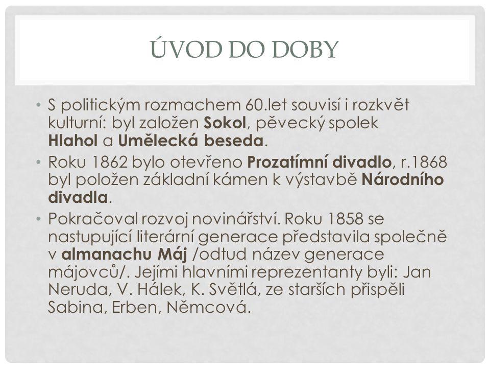 Úvod do doby S politickým rozmachem 60.let souvisí i rozkvět kulturní: byl založen Sokol, pěvecký spolek Hlahol a Umělecká beseda.