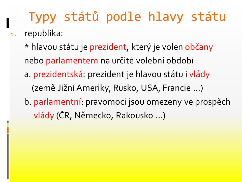 Typy států podle hlavy státu