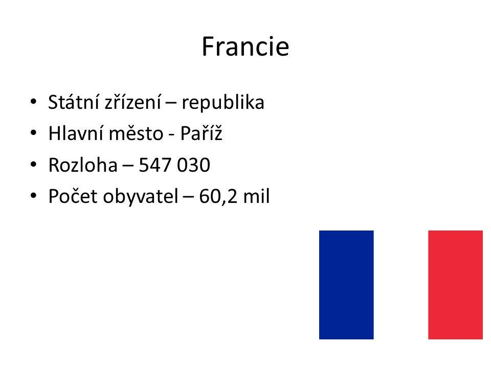 Francie Státní zřízení – republika Hlavní město - Paříž