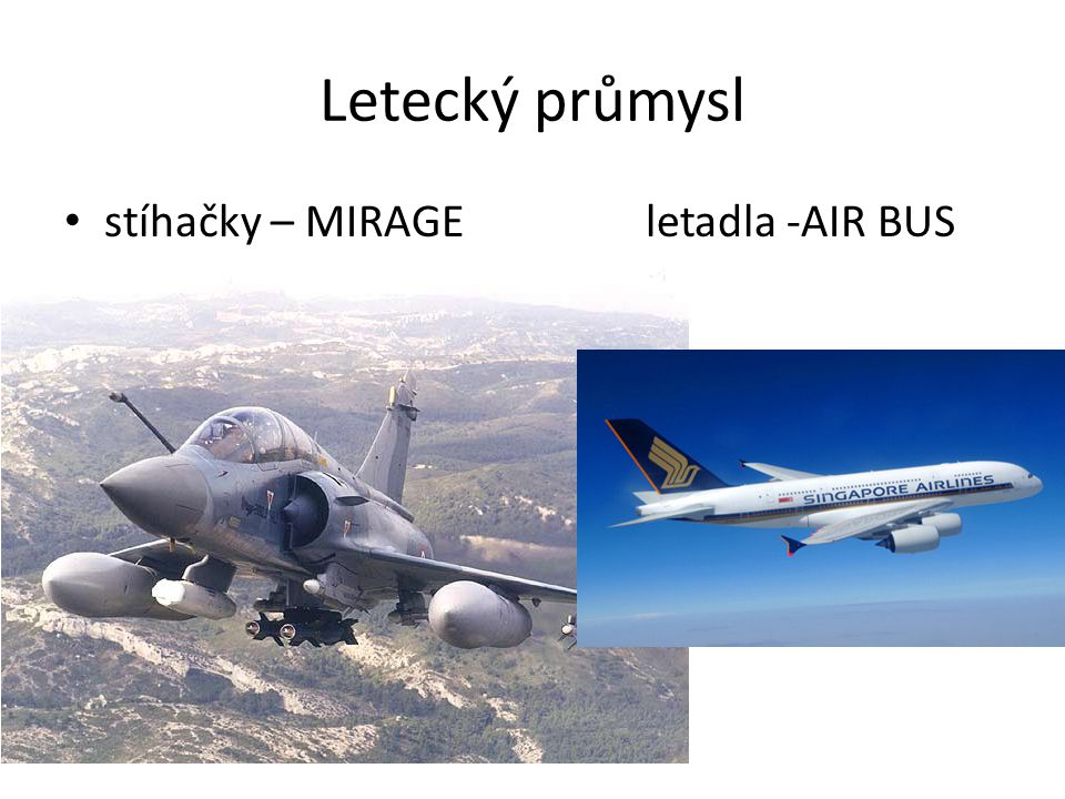 Letecký průmysl stíhačky – MIRAGE letadla -AIR BUS
