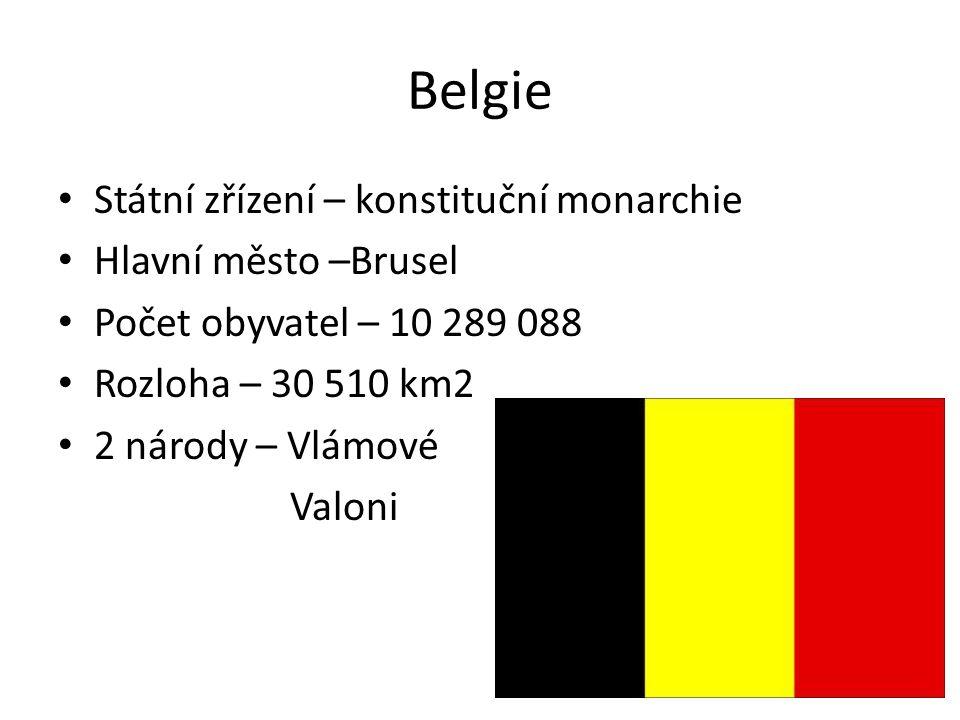 Belgie Státní zřízení – konstituční monarchie Hlavní město –Brusel