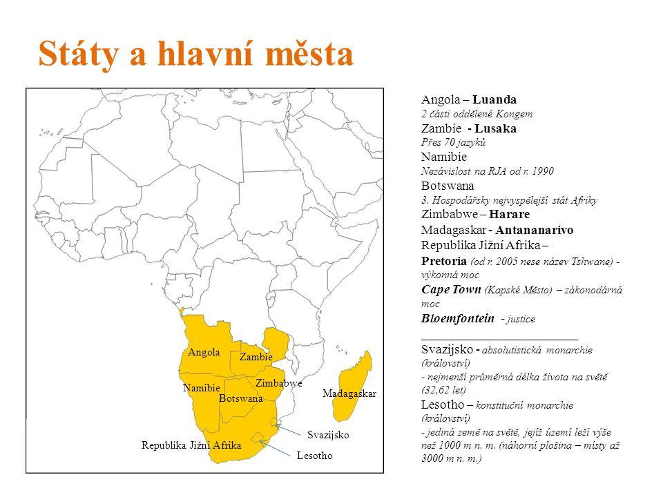 Státy a hlavní města Angola – Luanda Zambie - Lusaka Namibie Botswana