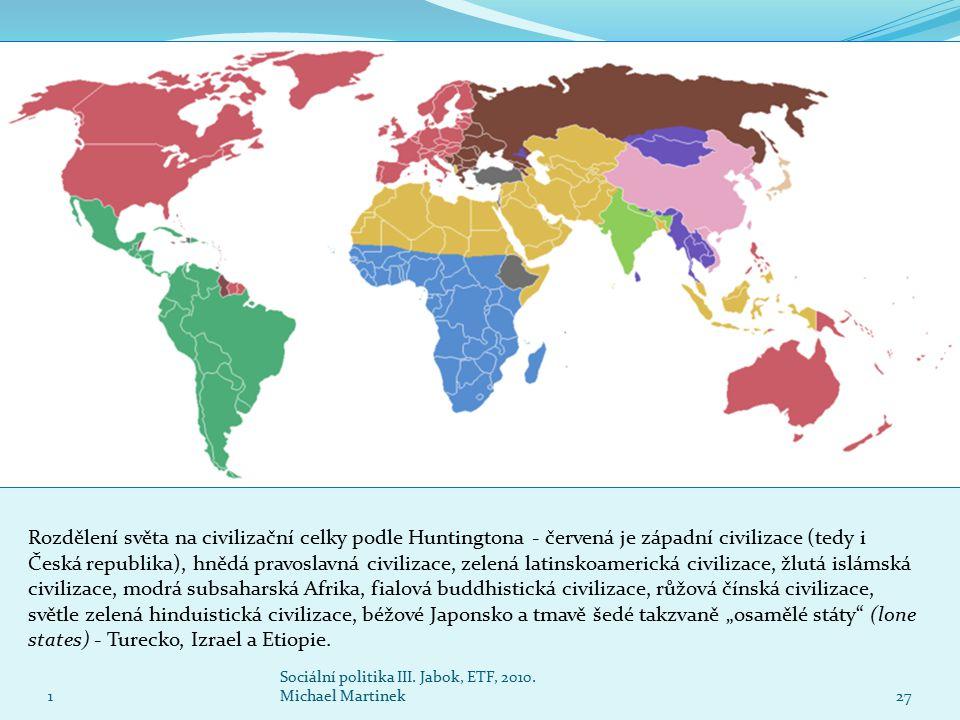 """Rozdělení světa na civilizační celky podle Huntingtona - červená je západní civilizace (tedy i Česká republika), hnědá pravoslavná civilizace, zelená latinskoamerická civilizace, žlutá islámská civilizace, modrá subsaharská Afrika, fialová buddhistická civilizace, růžová čínská civilizace, světle zelená hinduistická civilizace, béžové Japonsko a tmavě šedé takzvaně """"osamělé státy (lone states) - Turecko, Izrael a Etiopie."""