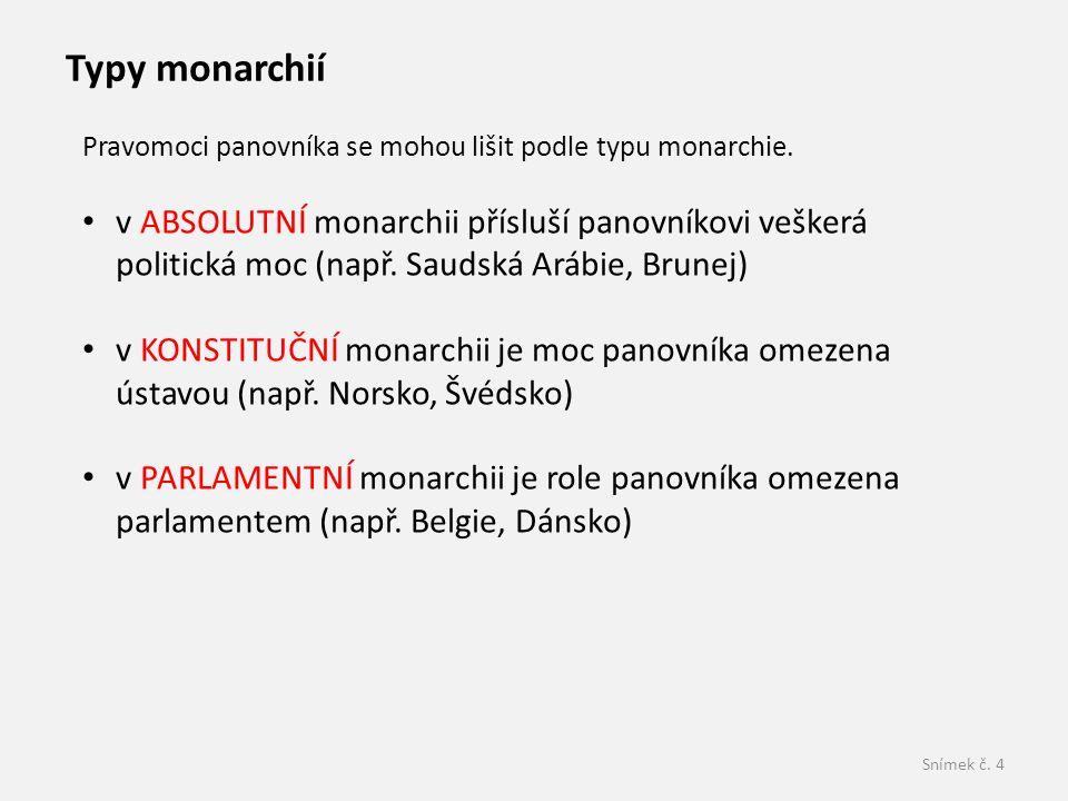 Typy monarchií Pravomoci panovníka se mohou lišit podle typu monarchie.