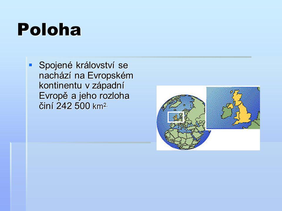 Poloha Spojené království se nachází na Evropském kontinentu v západní Evropě a jeho rozloha činí 242 500 km2.