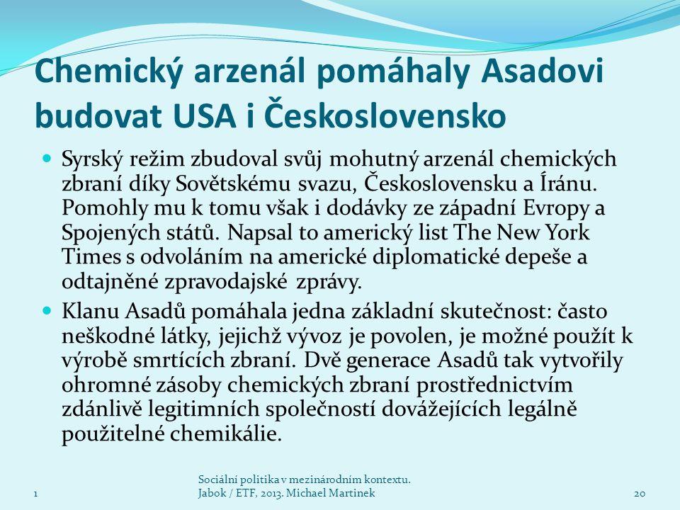 Chemický arzenál pomáhaly Asadovi budovat USA i Československo