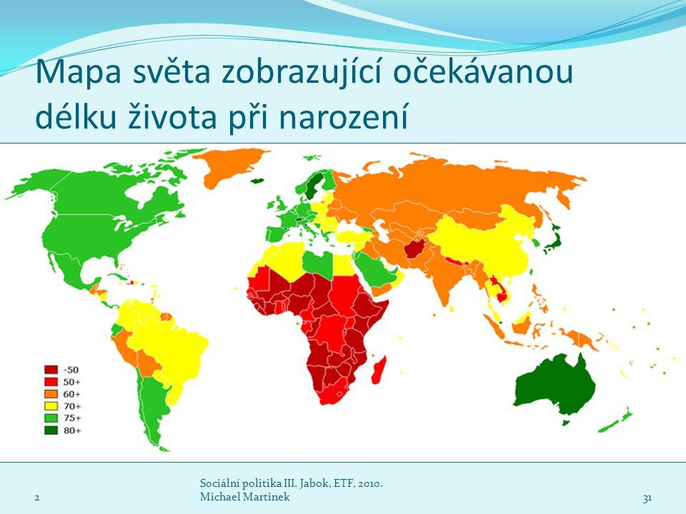 Mapa světa zobrazující očekávanou délku života při narození