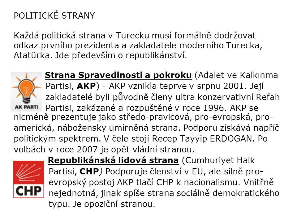 POLITICKÉ STRANY Každá politická strana v Turecku musí formálně dodržovat odkaz prvního prezidenta a zakladatele moderního Turecka, Atatürka. Jde především o republikánství.