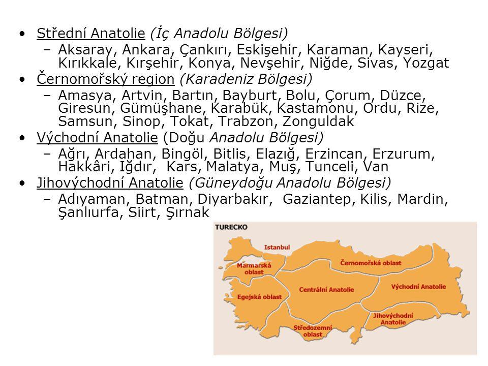 Střední Anatolie (İç Anadolu Bölgesi)