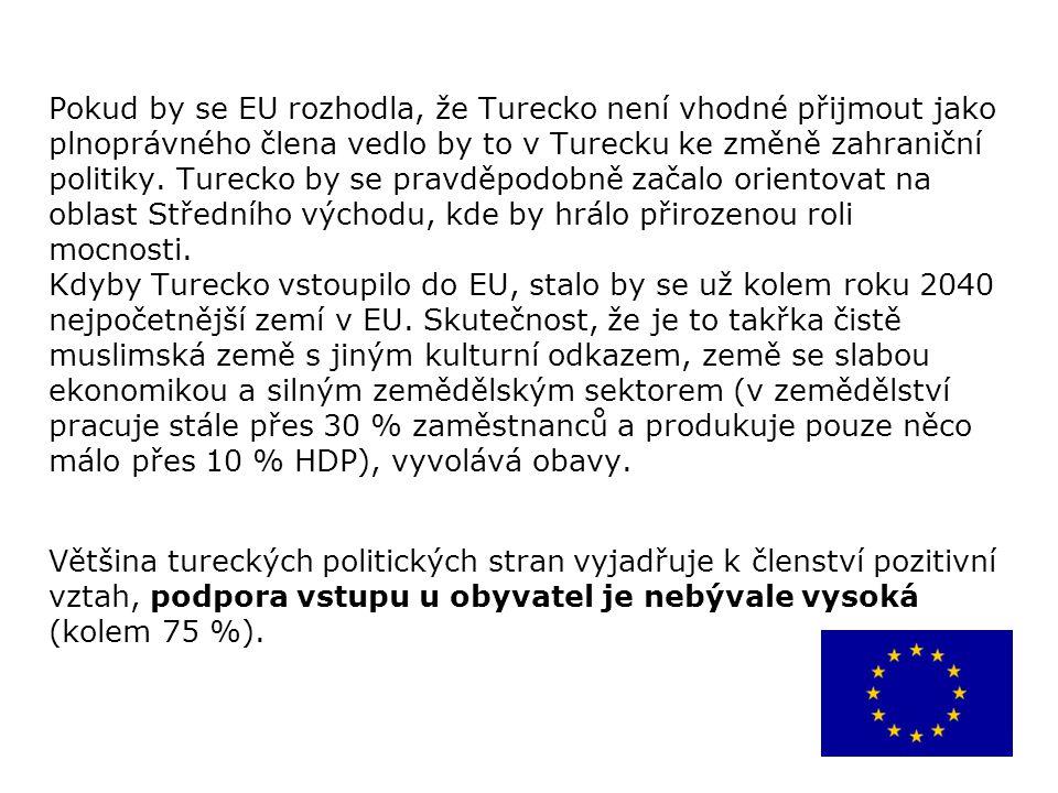 Pokud by se EU rozhodla, že Turecko není vhodné přijmout jako plnoprávného člena vedlo by to v Turecku ke změně zahraniční politiky. Turecko by se pravděpodobně začalo orientovat na oblast Středního východu, kde by hrálo přirozenou roli mocnosti. Kdyby Turecko vstoupilo do EU, stalo by se už kolem roku 2040 nejpočetnější zemí v EU. Skutečnost, že je to takřka čistě muslimská země s jiným kulturní odkazem, země se slabou ekonomikou a silným zemědělským sektorem (v zemědělství pracuje stále přes 30 % zaměstnanců a produkuje pouze něco málo přes 10 % HDP), vyvolává obavy.