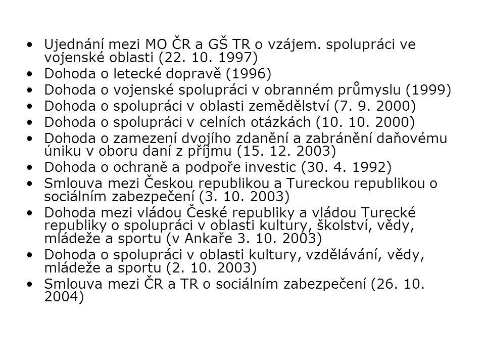 Ujednání mezi MO ČR a GŠ TR o vzájem