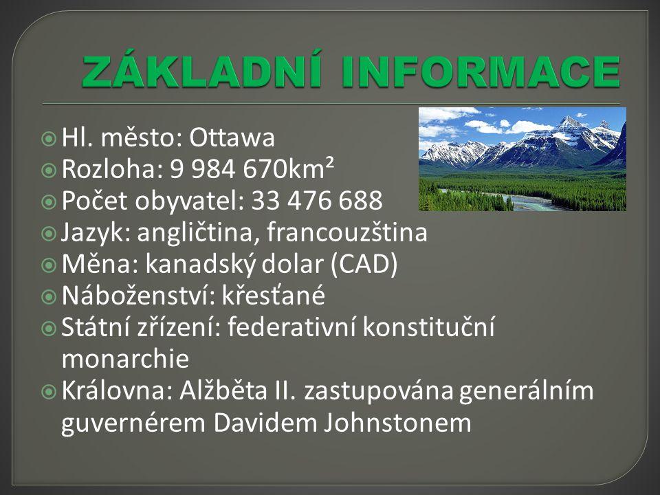 ZÁKLADNÍ INFORMACE Hl. město: Ottawa Rozloha: 9 984 670km²