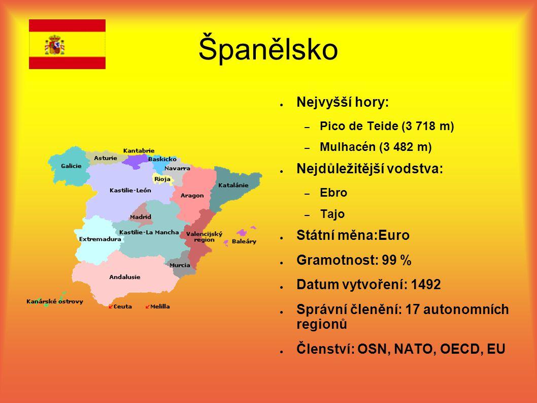 Španělsko Nejvyšší hory: Nejdůležitější vodstva: Státní měna:Euro