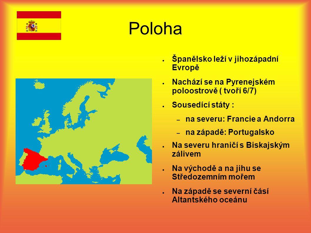 Poloha Španělsko leží v jihozápadní Evropě