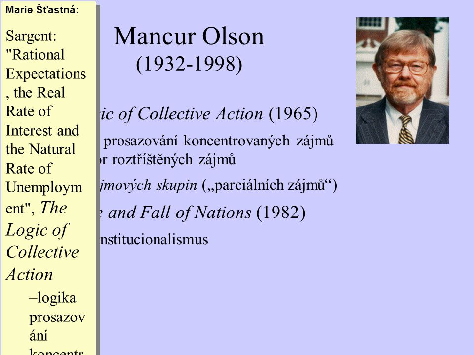 Mancur Olson (1932-1998) The Logic of Collective Action (1965)