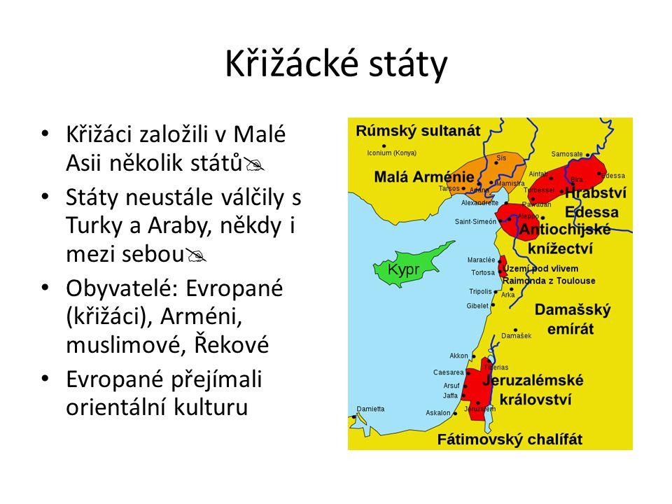Křižácké státy Křižáci založili v Malé Asii několik států