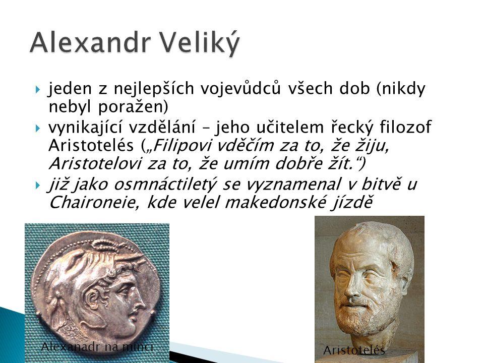 Alexandr Veliký jeden z nejlepších vojevůdců všech dob (nikdy nebyl poražen)