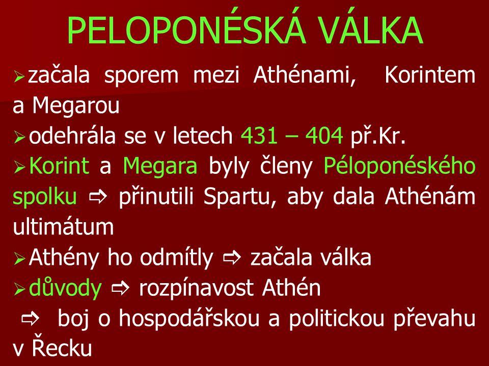 PELOPONÉSKÁ VÁLKA odehrála se v letech 431 – 404 př.Kr.