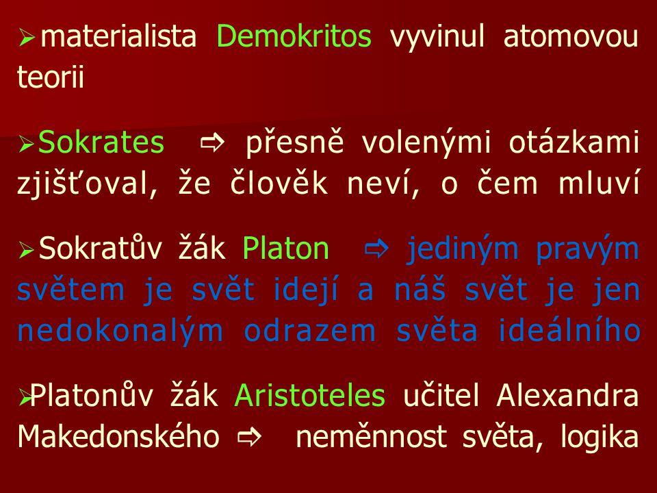 materialista Demokritos vyvinul atomovou teorii
