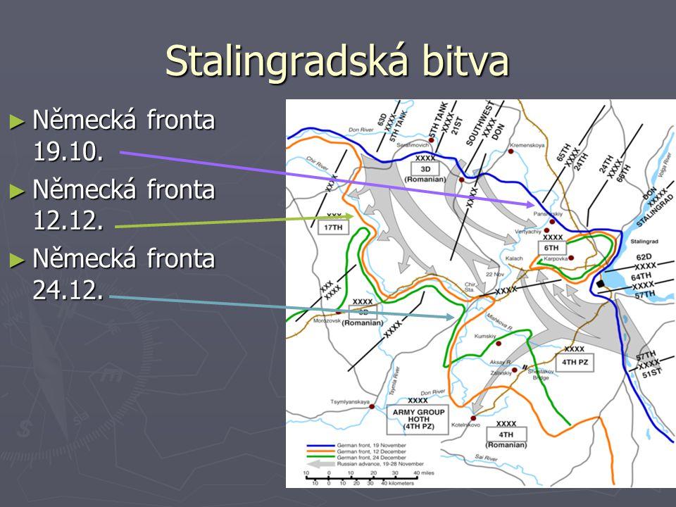 Stalingradská bitva Německá fronta 19.10. Německá fronta 12.12.