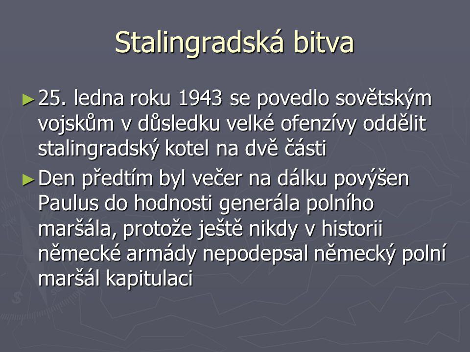 Stalingradská bitva 25. ledna roku 1943 se povedlo sovětským vojskům v důsledku velké ofenzívy oddělit stalingradský kotel na dvě části.