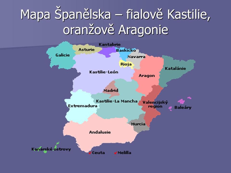 Mapa Španělska – fialově Kastilie, oranžově Aragonie
