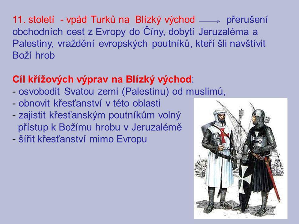 11. století - vpád Turků na Blízký východ přerušení obchodních cest z Evropy do Číny, dobytí Jeruzaléma a Palestiny, vraždění evropských poutníků, kteří šli navštívit Boží hrob