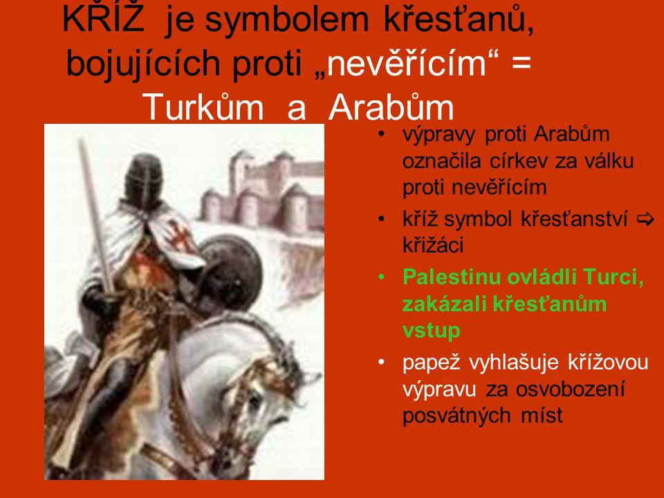 """KŘÍŽ je symbolem křesťanů, bojujících proti """"nevěřícím = Turkům a Arabům"""