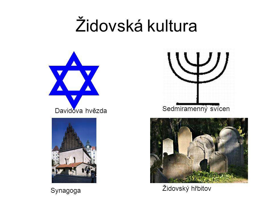 Židovská kultura Sedmiramenný svícen Davidova hvězda Židovský hřbitov