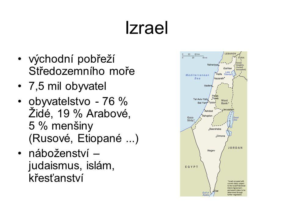 Izrael východní pobřeží Středozemního moře 7,5 mil obyvatel