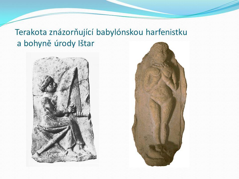 Terakota znázorňující babylónskou harfenistku a bohyně úrody Ištar