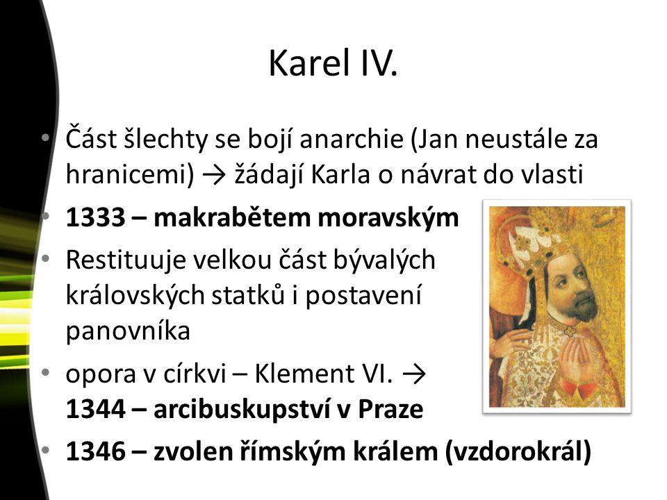 Karel IV. Část šlechty se bojí anarchie (Jan neustále za hranicemi) → žádají Karla o návrat do vlasti.