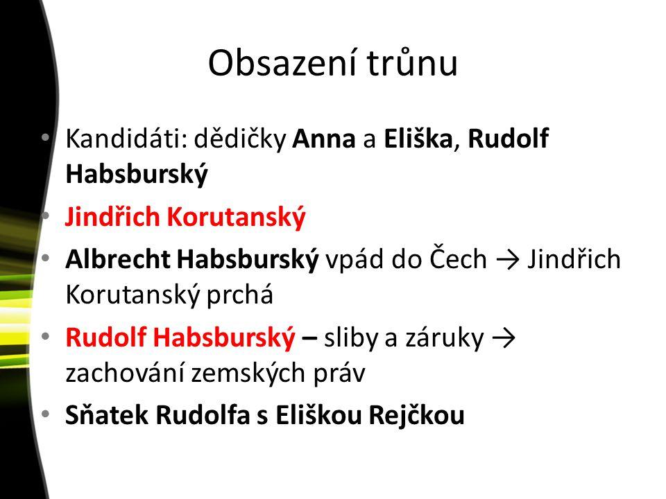 Obsazení trůnu Kandidáti: dědičky Anna a Eliška, Rudolf Habsburský