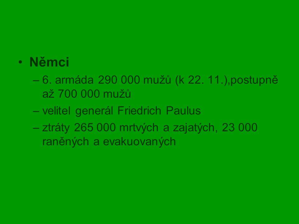 Němci 6. armáda 290 000 mužů (k 22. 11.),postupně až 700 000 mužů