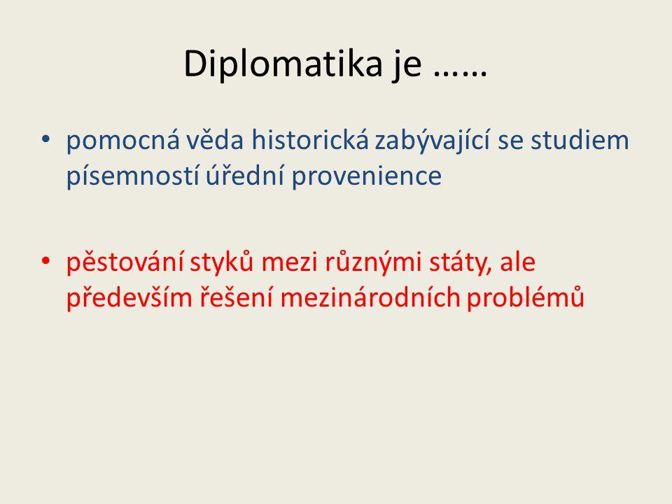 Diplomatika je …… pomocná věda historická zabývající se studiem písemností úřední provenience.